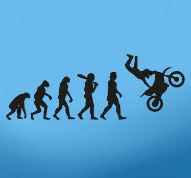 Adhesivo para aficionados al motocross y a los saltos acrobáticos con moto que muestra la evolución del hombre hasta el motorista.
