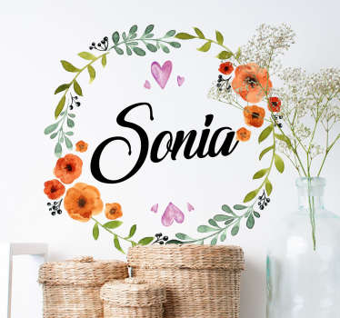Decorate a room in your home with this personalised wall sticker by entering a name of your choice inside the circle of flowers! Our floral decals come in different sizes for you to choose from.