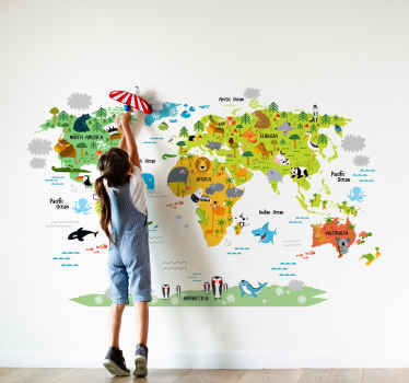 Children's wall sticker showing an illustration of the world map alongside lots of playful animals. Ideal for decorating a child's bedroom or nursery.