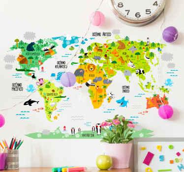 Vinilos para habitación infantil con la silueta de un mapa del mundo y sobre él el dibujo de la fauna autóctona de cada lugar.
