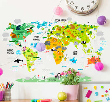 Vinilo infantil mapamundi animal