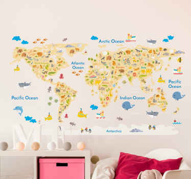 A creative kids world map decal that shows the wild animals from around the world and where they come from. Great as a classroom sticker.