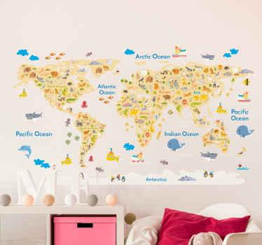 Wild animal world map wall sticker