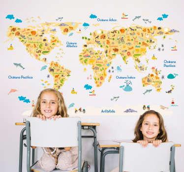 Vinilo infantil con la el perfil de un mapa del mundo y sobre él el dibujo de los distintos animales característicos de cada continente.