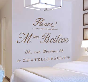 Een sfeervolle muursticker van een Franse tekst met adres. Prachtige wanddecoratie met een zeer luxieuze en chique uitstraling.