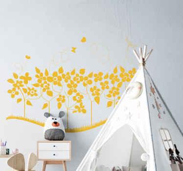 Monochrome Summer Flowers Wall Sticker