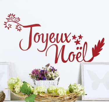 Sticker au design sobre et à la police légère de la phrase Joyeux Noel parfait pour annoncer la venue de ce célèbre événement.