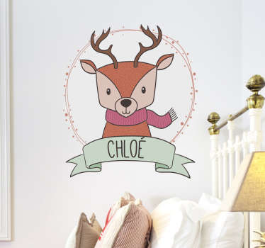 Are you looking for a decoration for the children's room? If Christmas is coming, go for this Christmas sticker with a reindeer and your child's name.