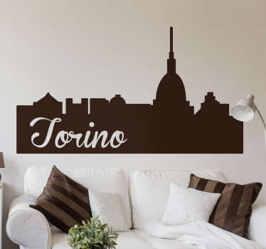 Turin landscape sticker with the main monuments of the city and the phrase Torino. Perfect if you love this Italian city!