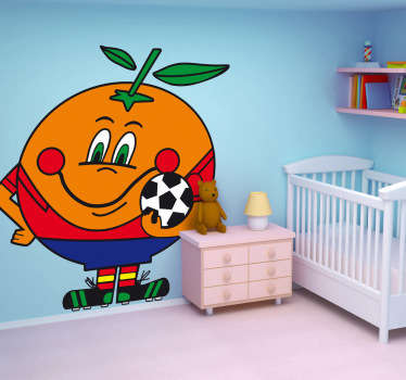 Ilustración de Naranjito, mascota del mundial de fútbol de España en 1982. Pegatina de serie de televisión de dibujos animados.