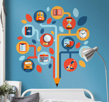Educational wall sticker depicting a colored pencil which takes the form of a tree and which is made up of the elements of education and youth.