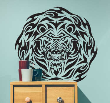 Wild animal sticker lion in the shape of a circular tribal. This is perfect if you like this animal showing the force of character and defining you!