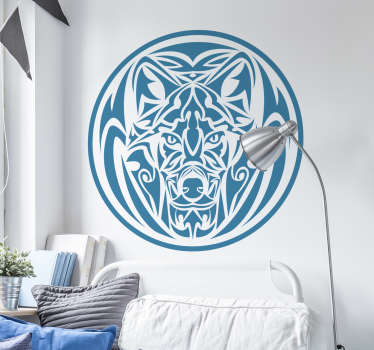 Wolf sticker in the shape of a circular tribal perfect if you love this wild animal! A wolf shows the solitary and calm dimension that defines you!