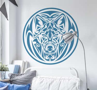 Muursticker wolf tribal