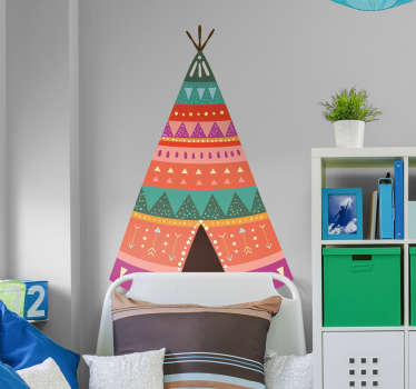 A headboard wall sticker with a native American tent for a children's bedroom, perfect to give the atmosphere of native American culture!