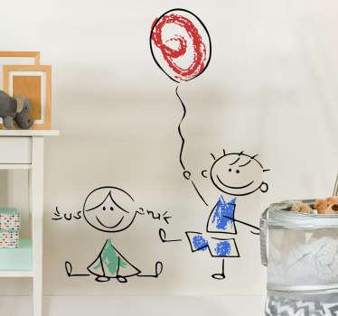 Kinder muursticker tekening spelende kinderen