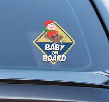 Sticker bébé à bord ski