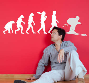 ports wall sticker for winter sports fans with the human evolution from australopithecus to homo sapiens and ending in the silhouette of a skier.