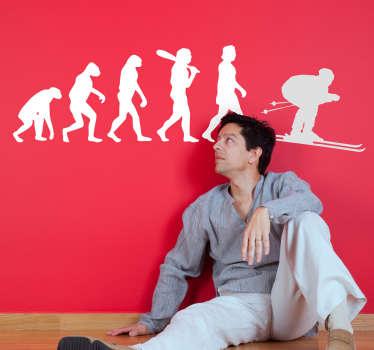 Muursticker evolutie van de mens ski