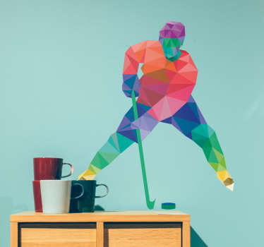 Sports wall sticker with a modern representation of the profile of a hockey player, made up of different geometric shapes in vivid colors.