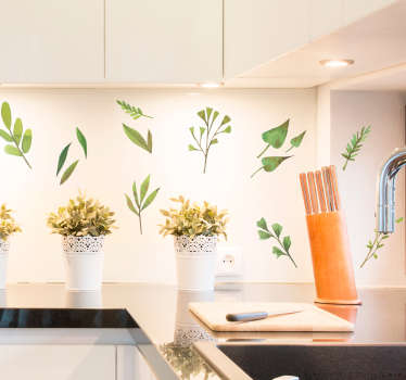 さまざまな種類の葉や植物の植物ステッカーのコレクション。キッチンなど、家の隅々を飾るのに最適です。
