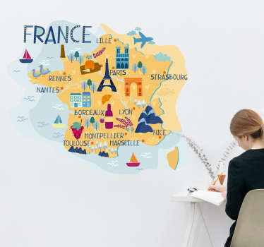 Magnifique carte de la France avec le nom des plus grandes villes du pays et les dessins de monuments et specialites culinaires qui la composent.