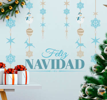 Vinilos decorativos navideños con un diseño elegante y original, perfecto para decorar las paredes de tu casa.