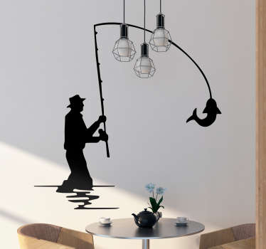Silhouette wall sticker of a fisherman picking up a large fish with his rod. A perfect design if you are a big fan of this sport.