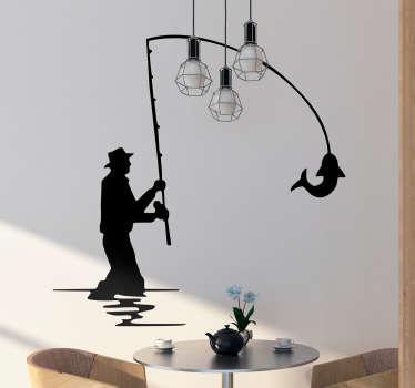 Muursticker silhouette visser