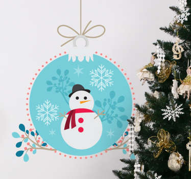 Christmas stickers with a fun drawing of a Christmas ball with a printed snowman, ideal to decor your home or business this winter.