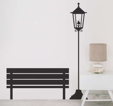 Object wall sticker of a gas street light and a wooden bench, ideal to give a romantic and poetic touch to the walls of your living room.