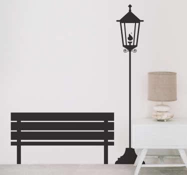 Adesivo decorativo lampione e panchina