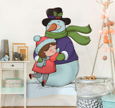 Christmas wall sticker with the design of a Christmas clown hugging a child. A nice decoration idea for kid's space. It is available in any size.