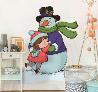 Sticker enfant bonhomme de neige fille câlin