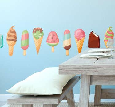 Sticker d'une frise représentant plusieurs variétés de glaces que ce soit à l'italienne, esquimaux ou à boules.
