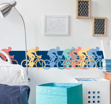 Self adhesive wall sticker with colorful prints of bikers riding on the bicycle. It is nice for the space of teenagers and it is self adhesive.