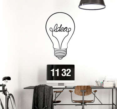 Decorative bulb drawing with text wall sticker to beautify any space space of choice. It is available in any size required.