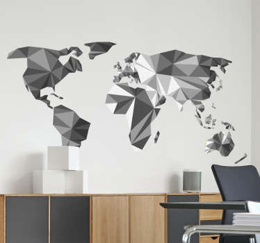 The world map wall sticker is a decoration depicting the contours of all continents in the world filled with gray using the gradient effect!