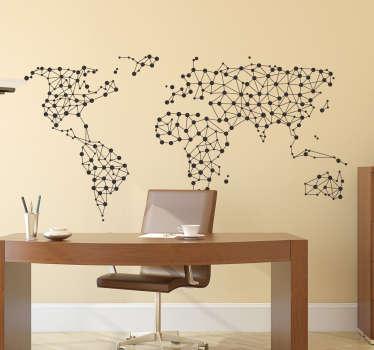 Wandtattoo vernetzte Weltkarte