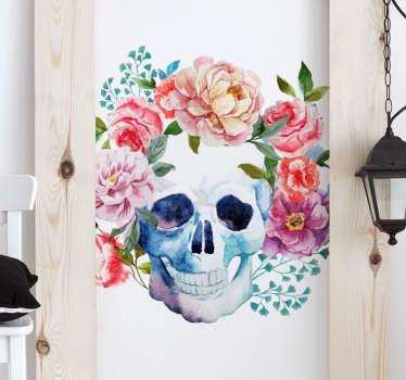 Sticker tete de mort avec des fleurs