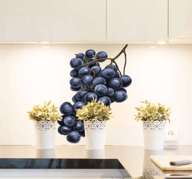 Come take a look at our gorgeous food wall sticker that has black grapes on it. You can customize the size to fit any flat surface you want it!