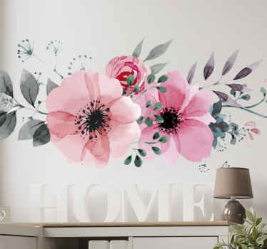 Vacker rosa blommig vägg klistermärke