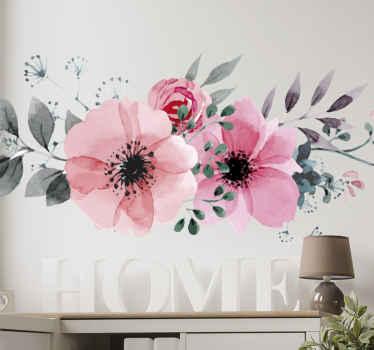 Lepa roza cvetlična stenska nalepka