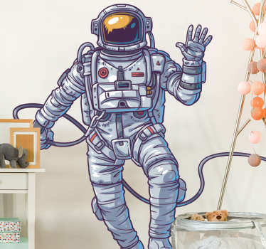 Detailed astronaut wall sticker for decorating a child's room, play room or teen's room, from our collection of space wall stickers. This original design shows an amazing illustration of a waving astronaut floating in space away from his spaceship.