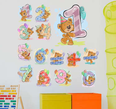 Kids room wall sticker decoration design of different bears holding numbers. It is available in any required size and it is self adhesive.