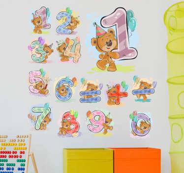 sticker infantile numeri orsi