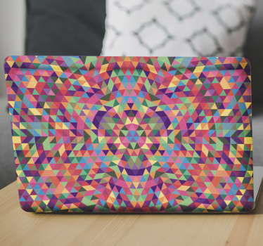 Laptop skin with a kaleidoscope pattern. An original and exclusive sticker that will fill your computer with color making it a unique piece.