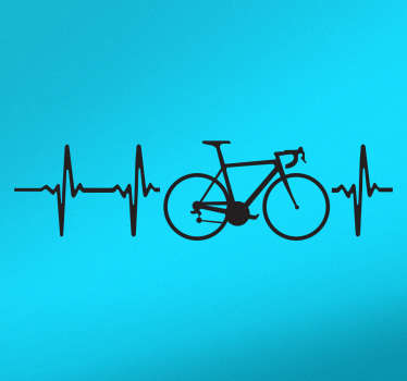Car sticker for lovers of cycling. A decorative vinyl on which a bicycle appears along with sound waves that symbolize the heartbeat.