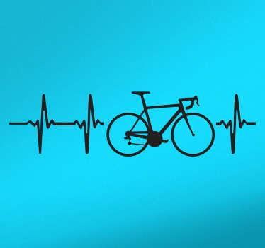 サイクリング愛好家のための車のステッカー。自転車と、心拍を象徴する音波とともに現れる装飾的なビニール。