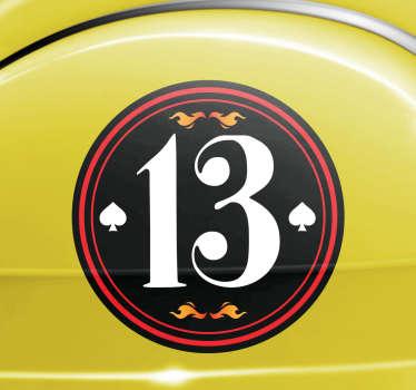 Personifierad bil nummer klistermärke
